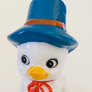 Vintage Small Ceramic Duck in Top Hat